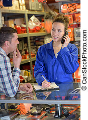 kaufhaus, verkäufer, assistieren, kunde, kaufen