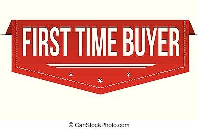 kaufinteressent, banner, design, zeit, zuerst