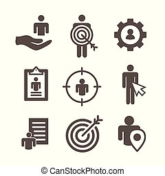 kaufinteressent, -, ziel, bild, markt, pfeil, persona, aufziehen, heiligenbilder, ausrüstung, führt