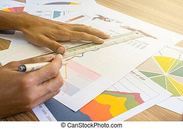 kaufleuten zürich, arbeitende , mit, schaubilder, und, tabellen