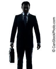 kaufleuten zürich, ernst, haltend aktentasche, silhouette