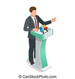 kaufleuten zürich, geben darstellung, in, a, konferenz,...