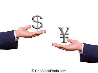 kaufleuten zürich, hand, tauschen, dollar, und, yenvorzeichen