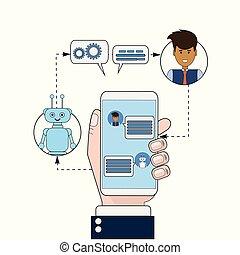 kaufleuten zürich, kommunizieren, mit, chatbot, gebrauchend, klug, telefon, modern, schwatzen, technologie, technische unterstützung, service, online, begriff