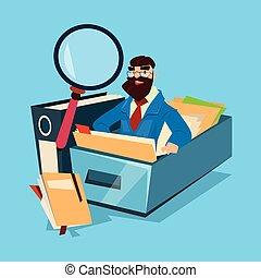 kaufleuten zürich, mit, vergrößerungsglas, finanz, dokumente, analyse