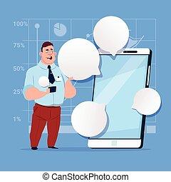kaufleuten zürich, stehen, mit, groß, zelle, klug, telefon, sozial, vernetzung, kommunikation, geschäftsmann, mit, unterhaltung, blase