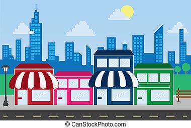 kaufmannsladen, fronten, und, skyline, gebäude