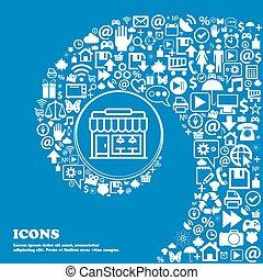 kaufmannsladen, ikone, zeichen., nett, satz, von, schöne , heiligenbilder, verdreht, spirale, in, der, zentrieren, von, eins, groß, icon., vektor