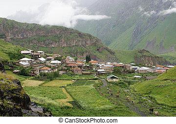 kaukázus, grúzia, falu, hegyek