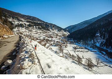 kaukázus, hegy, tél, grúzia, hegyek, svaneti, falu