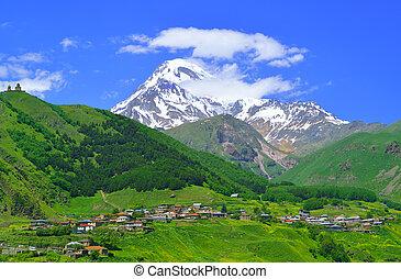 kaukázus, hegyek, falu