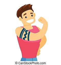 kaukasier, biceps., weißes, ausstellung, t�towierung, mann