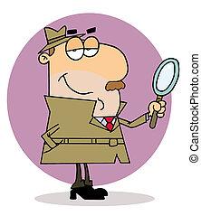 kaukasier, karikatur, ermittlungsbeamte, mann