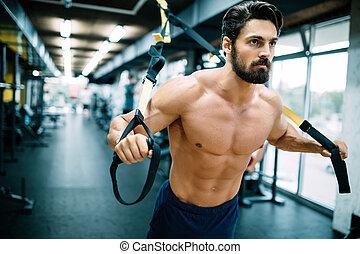 kaukasier, mann- trainieren, aufhängung, training, trx