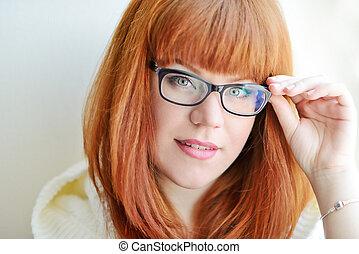kaukasier, rothaarige, m�dchen, mit, brille