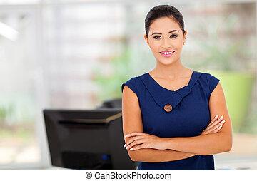 kaukasisch, businesswoman, in, haar, kantoor