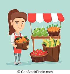 kaukasisch, straat, verkoper, met, fruit en groenten