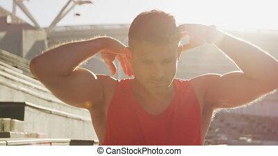 kaukasisch, stretching, stadion, atleet