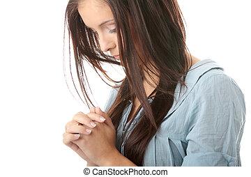 kaukasisch, vrouw, jonge, biddend