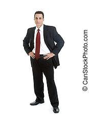 kaukasisch, zakenman in proces, staand, volledig lichaam,...