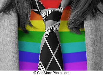 kaukasisch, zakenmens , met, een, vastknopen, regenboog, markeer model