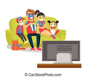kaukasisk familie, iagttag, fodbold match, på, television
