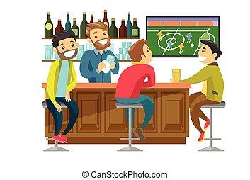 kaukasisk, folk, iagttag, fodbold, hos, sport, bar.