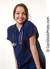 kaukaski, kobieta, pracownik, pociągający, healthcare
