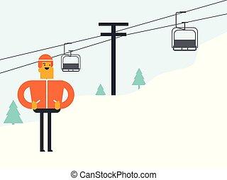 kaukaski, narciarz, cableway, biały, resort., narta