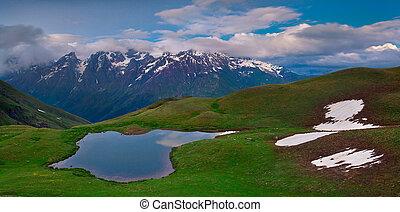 kaukasus, mountains, insjö, alpin