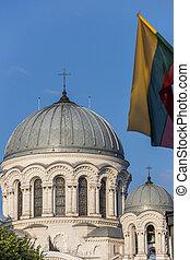 Kaunas St. Michael the Archangel church and Lithuanian flag