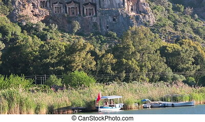 Kaunian rock tombs in Hellenistic style, Kaunos, Dalyan,...