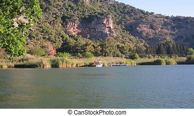 Kaunian rock tombs in Hellenistic style, Kaunos, Dalyan,...