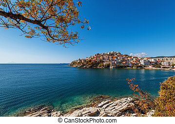Kavala city in Greece in autumn