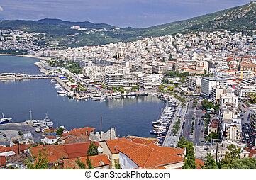 Kavala Greece - Kavala in Greece, port at Eagean Sea