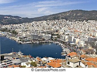 kavala, stad, view), (aerial, griekenland
