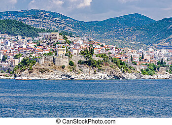 Kavala city in Greece, seen from sea