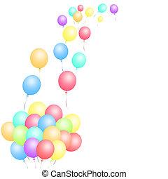 kavels, van, ballons