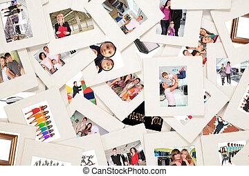 kavels, van, dia's, met, mensen, collage