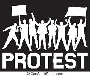 kavels, van, furieus, mensen, het protesteren