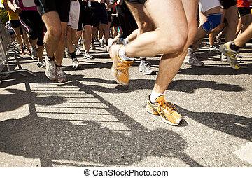 kavels, van, mensen in a, rennende , competitie