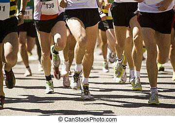 kavels, van, mensen, rennende , in, een, sporten, spel