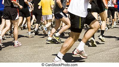 kavels, van, rennende , mensen in a, sporten, hardloop