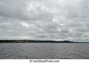 kavgolovo, 湖, 多雲, 天