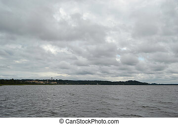 kavgolovo, lago, su, uno, giorno nuvoloso