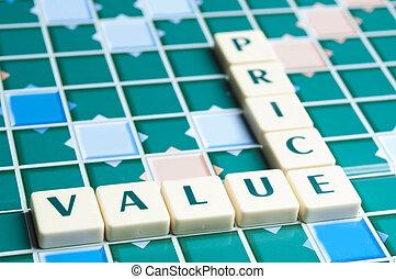 kawałki, litera, cena, robiony, wartość, słowo