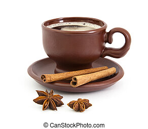 kawa, anyż, gwiazda, cynamon, filiżanka