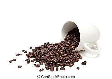 kawa, białe fasole, odizolowany, spilt