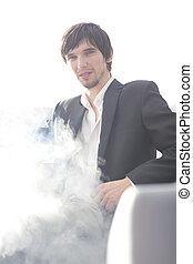 kawa, break., up.businessman, papieros, podczas, zamknięcie