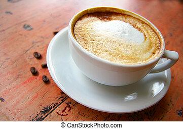 kawa, cappuccino, fasola, pienisty, filiżanka